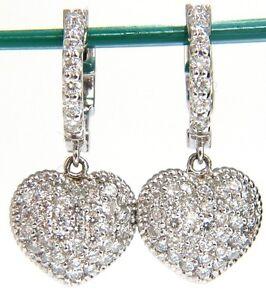 1.30ct dangling hearts on hoop diamonds earrings 14kt g/vs locking lever+