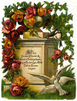Vintage Victorian die cut paper scrap, monument with birds from c. 1880
