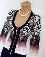 KAREN MILLEN Multicoloured/Zipped Front/Knit Stretch Cardigan Size 2/ Uk 8-10