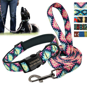 Personalized Dog Collar and Leash Set Durable Soft Neoprene Lined Nylon Collars