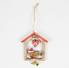 Sass & Belle Merry Christmas Robin in a wooden house Sign Hanging Decoration 9cm