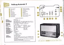 Service Manual-Anleitung für Saba Freiburg Automatic 9  Baujahr 1958/59