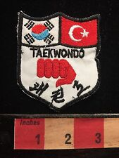 Martial Arts TAEKWONDO Patch ~ South Korea Turkey Flags Tae Kwon Do S60F