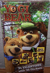 Valentines Day Cards (Box of 34) Yogi Bear with Stickers