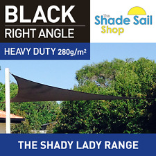 Shade Sail Right Angle Triangle 5x7x8.6m Black 280gsm Super strong corners