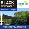 Shade Sail Right Angle Triangle 2x4x4.7m Black 280gsm Super strong 2 x 4 x 4.7 m