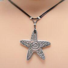 Collier pendentif étoile de mer cordon noir - métal argenté  - starfish necklace
