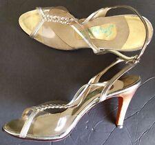 Vintage 70s Stanley Philipson Transparent Silver Gold Peep Toe Heel Shoe 9Aaaa