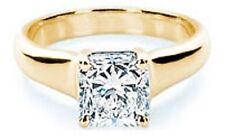 2 carat Radiant cut DIAMOND Engagement Solitaire 14K Yellow Gold Wedding Ring