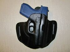 FITS GLOCK 42, FORMED LEATHER PANCAKE HOLSTER, OWB BELT HOLSTER, RIGHT HAND