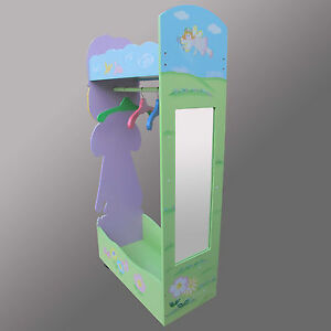FAIRY PRINCESS CLOTHING  RACK CHILDREN WOODEN FURNITURE WITH MIRROR & 4 HANGERS
