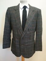 "H514 MENS DAKS GREY BLUE BROWN CHECK WOOL COLLARED BLAZER UK L 42"" EU 54"