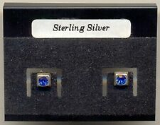 Blue Crystal 5mm Square Sterling Silver 925 Studs Earrings Carded