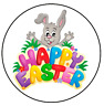 24 Happy Easter Stickers Egg Hunt Labels Gift Bags Round 40mm Cone Seals Party A