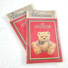 Vintage Teddy Bear Invitations 16ct Hallmark Red Green Xmas Colors Holiday Party