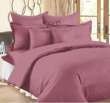 Solid Pink Queen Size Egyptian Cotton Flat Bed Sheets With 2 Pillow Covers
