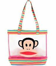 PAUL FRANK 'Julius' Monkey Shopping Shoulder Tote Beach Bag Rainbow Stripe