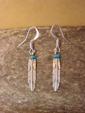 Native American Jewelry Stamped Sterling Silver & Turquoise Feather Earrings