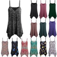 Womens Handkerchief Hem Flowy Top Casual Summer Spaghetti Strap Camisoles Tank