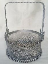 Vintage Silver Coloured Metal Basket 25cm Tall