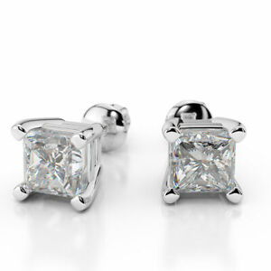 1 CT Beautiful Princess Cut Diamond Stud Earrings F/VS1 14K White Gold