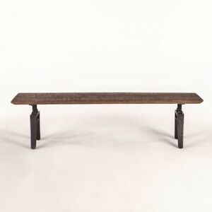 """68"""" L Bench Band Saw Cut Exotic Teak Industrial Metal Legs One of a Kind"""