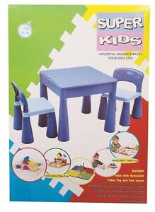 NEW Table And Chair Blue With Block Top And Storage from Mr Toys