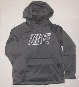 Nike Big Boys Long Sleeve Fleece Hoodie Dri-Fit Tee Hooded Pullover S, M, L Grey