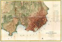 MAP ANTIQUE 1858 USCS SAN FRANCISCO BAY CITY LARGE REPLICA POSTER PRINT PAM1776