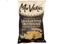 Miss Vickies Kettle Cooked Potato Chips LIME & BLACK PEPPER 220g CANADIAN FRESH