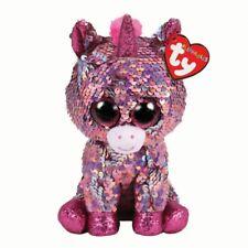 Ty Beanie Babies 25cm Flippables Medium Sparkle The Pink Unicorn Sequin 011