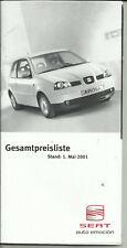 Prospekt Seat Automobile Preisliste 2001