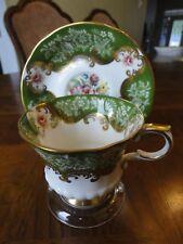 Paragon Fine Bone China Teacup and Saucer, Frenton, Elegant Green Flower, No Tax