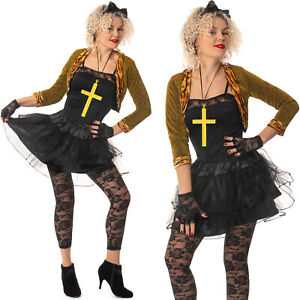 Madonna 80s Popstar Womens Wild Child Ladies1980s Adult Fancy Dress Outfit Lot