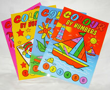 NEW SET 4  PAINT COLOUR BY NUMBERS A4 BOOKS CHILDREN'S PAINTING COLOURING