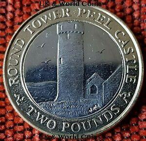 SCARCE IOM Manx £2 Round Tower of Peel Castle 2014 Slightly Circulated