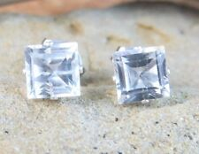 New 2ctw Genuine Clear White Topaz Asscher Sterling Silver Stud Earrings #558
