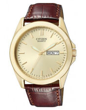 New Citizen Men's Dress Gold Tone Stainless Steel Leather Strap Watch BF0582-01P