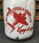 WWII BUY WAR BONDS & STAMPS Pint Milk Bottle Glass Smith & Sons Dairy Memphis