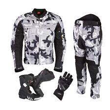 Waterproof Motorcycle Motorbike Suit Jacket Trouser Gloves Boots Shoes Set -Grey