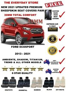 Ford Ecosport 2013-2021 Premium Sheepskin Seat Cover Pair Airbag Safe 30MM TC