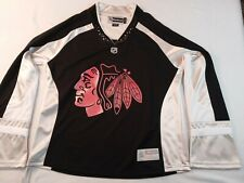 Official Reebok Womens NHL Chicago Blackhawks Jersey Black Silver White SZ Large