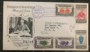 1946 Managua Nicaragua First Day Cover FDC To New York USA Roosevelt Memoriam