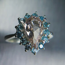 Natural Pink Morganite Emerald & natural blue zircons 925 Sterling silver ring