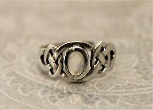 Attractive Celtic Design Sterling Silver and Moonstone Ring - Thames Hospice