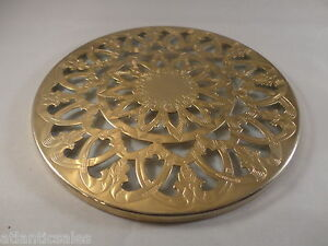 Silver Plated Glass Trivet  Round  Vintage 1920s