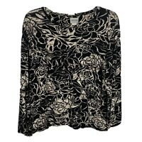 Chicos Womans Long Sleeve Top Blouse Size Medium Chicos 2 Black  Floral