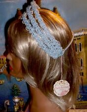 Vintage Bridal Tiara Crown Prom Head Piece Light Blue w Pearls by T & G NEW