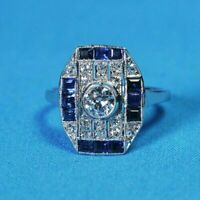 925 Silver 1.50 CT Diamond 14K White Gold FN Blue Sapphire Art Deco Wedding Ring