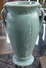 vintage 1939 Robinson Ransbottom Art Deco green vase Roseville, Oh Crown RRPC
